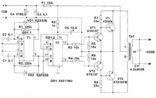 схема инвертор 12 220